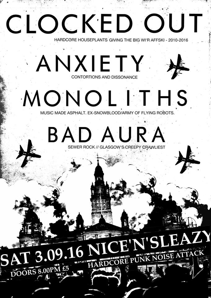 Clocked Out + Anxiety + Bad Aura + Monoliths