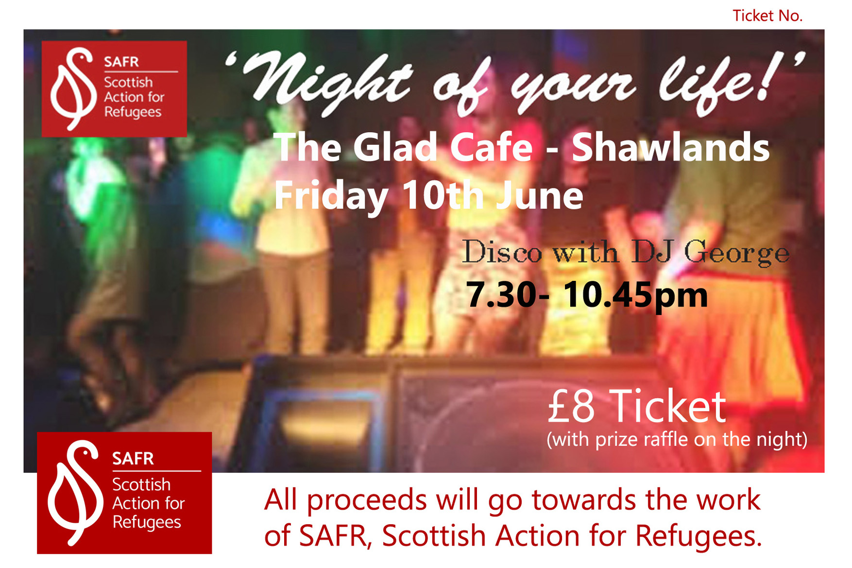 Scottish Action for Refugees: 'Night of your Life!' Disco Fundraiser with DJ George