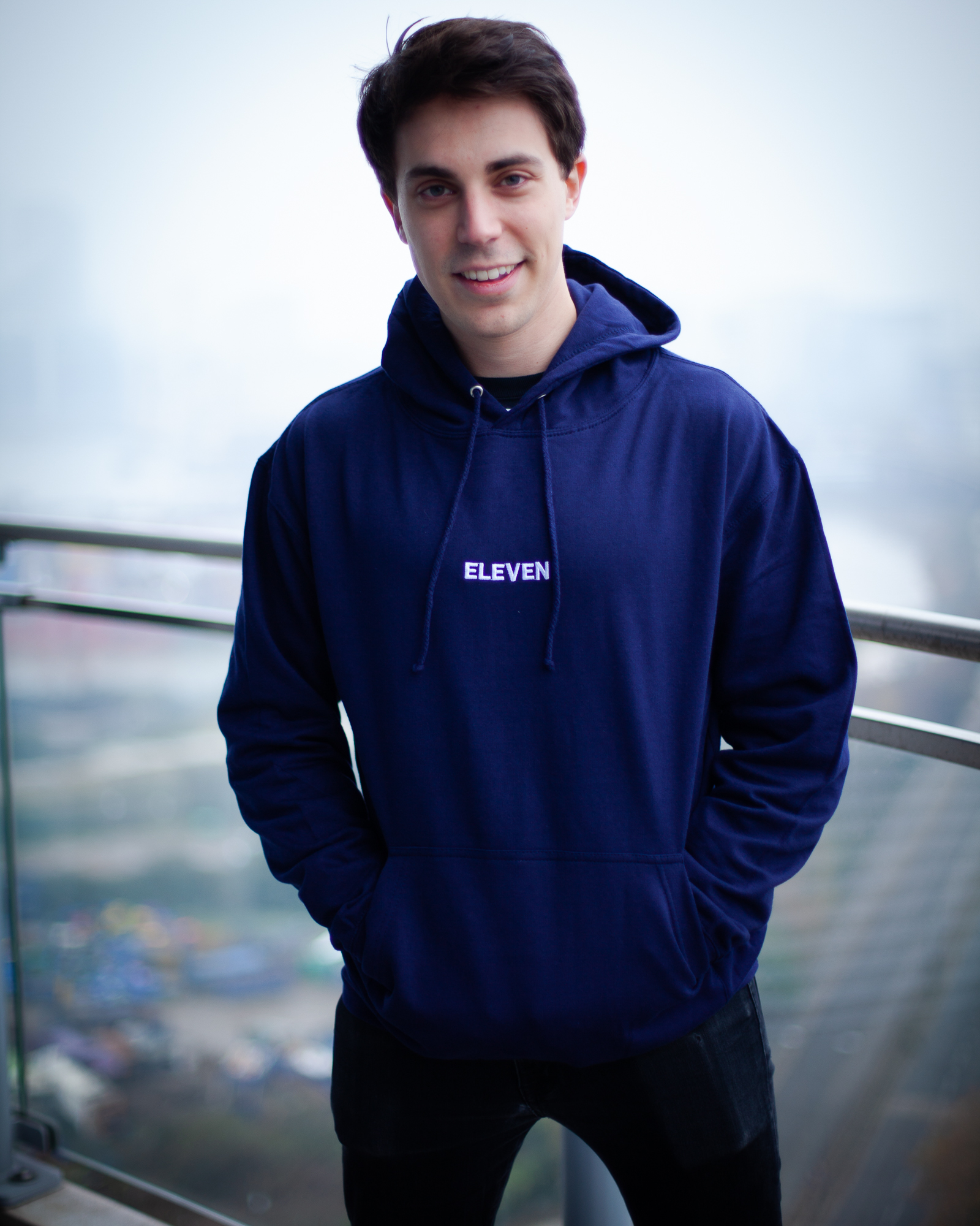 TEAM ELEVEN Embroidered Hoodie - Navy - Area 11