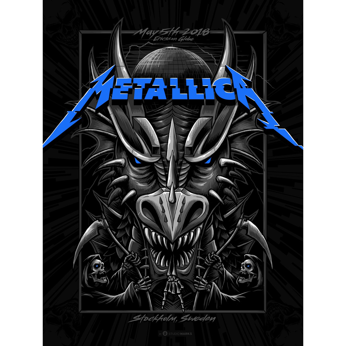Stockholm May 5th – Limited Edition Numbered Screen Printed Event Poster - Metallica