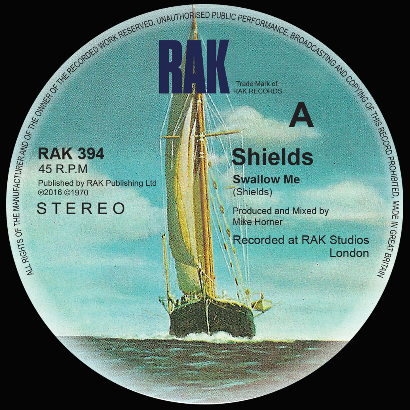 "Shields - Swallow Me / Chequered Love - 7"" Vinyl - RAK"