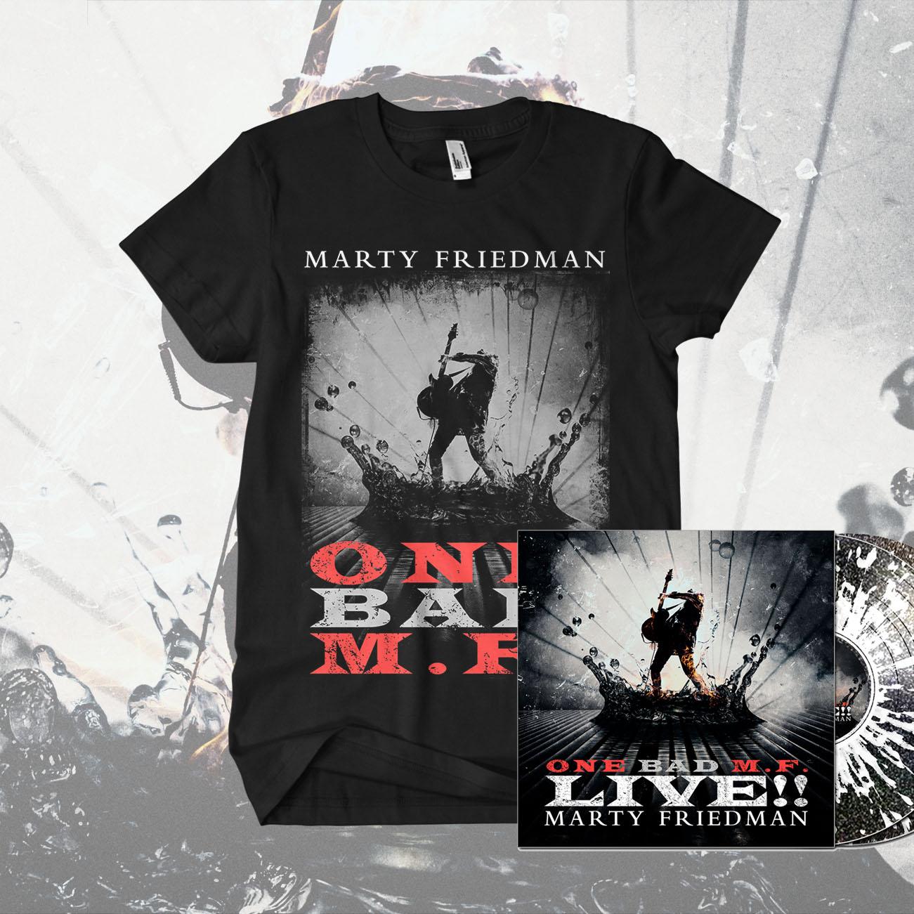 Marty Friedman - ''One Bad M.F. Live!!' Black Sparkle with Clear Splatter 2LP & T-Shirt Bundle - Marty Friedman