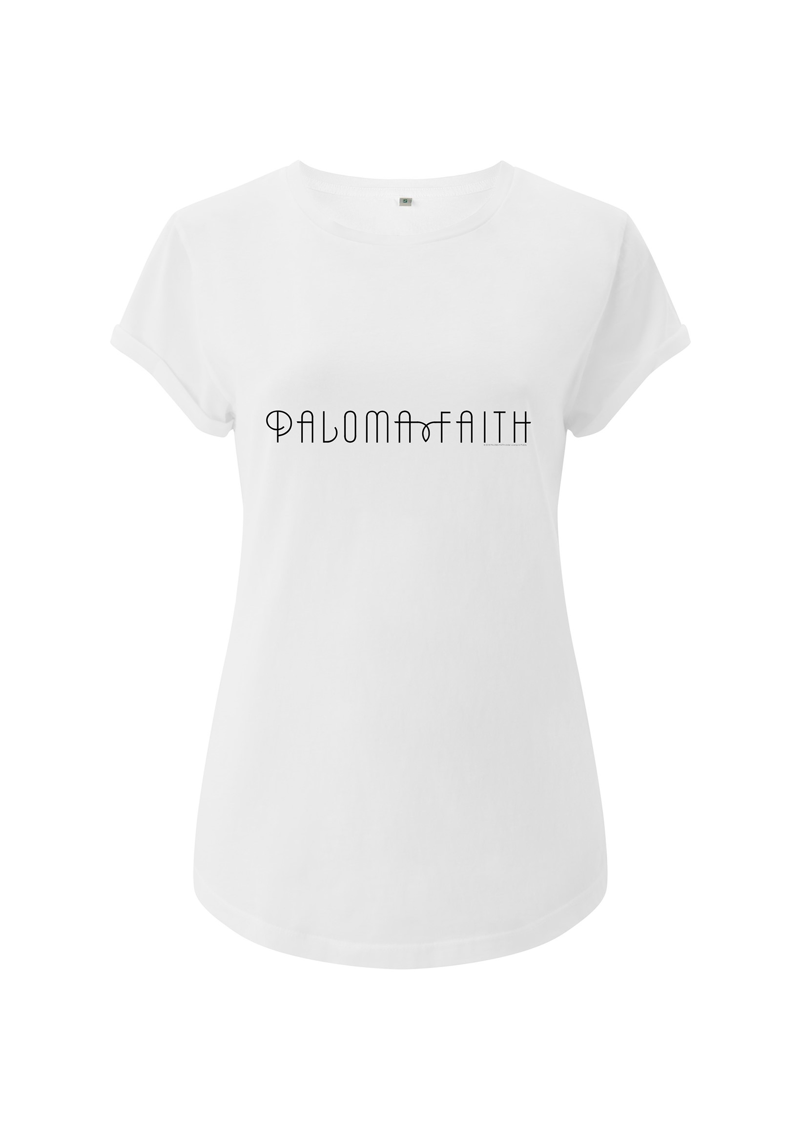 Logo Inspired – White Ladies Wide Shoulder Roll Sleeve Tee - Paloma Faith