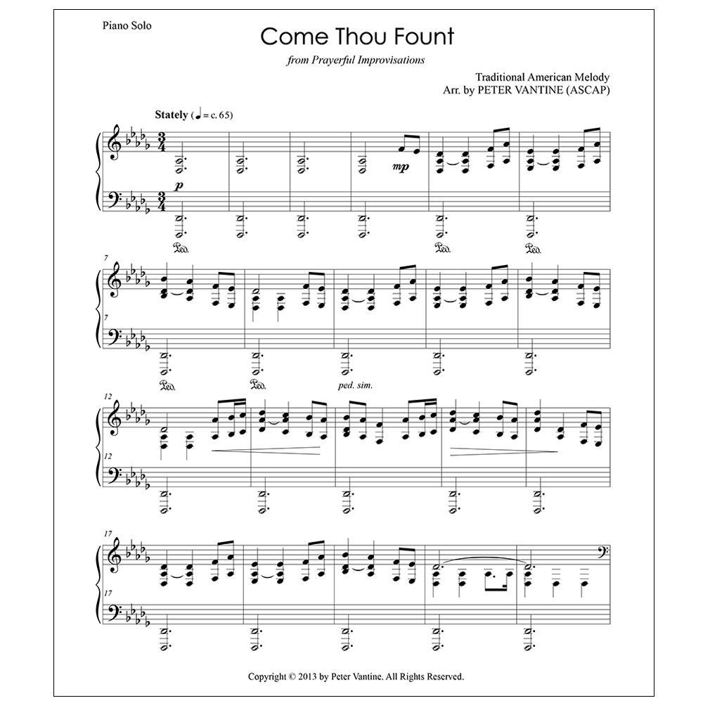 Come Thou Fount (sheet music download) - Peter Vantine