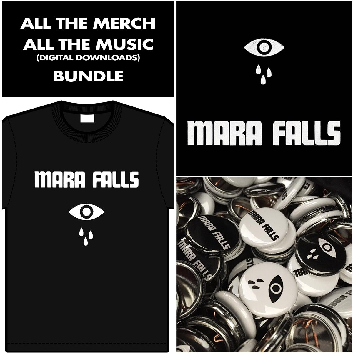 T-Shirt, Badge, Sticker, Music Bundle - Mara Falls