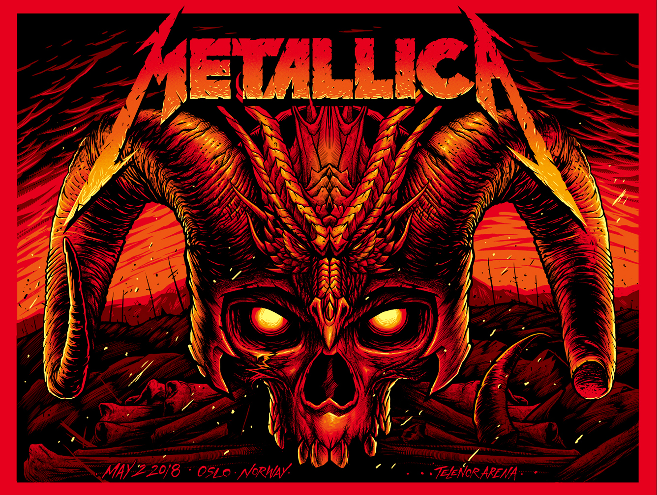 Oslo May 2nd – Limited Edition Numbered Screen Printed Event Poster - Metallica